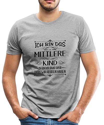 Geschwister Regeln Witziger Spruch Mittleres Kind Männer Premium T-Shirt von Spreadshirt®, M, Grau meliert