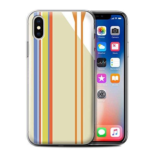 Stuff4 Gel TPU Hülle / Case für Apple iPhone X/10 / Aquamarin/Rot Streifen Muster / Strand Mode Kollektion Strand Streifen