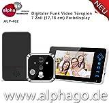 Digitaler Funk- Türspion ALP-402 - Kabelloser Türspion mit Kamera - Tragbare 7 Zoll Farbdisplay - erweiterbar bis zu 3 Monitore - Nachtsicht - 2 Wege Kommunikation - Tür Überwachung - geeignet nur für Wohnungen - Einfache Installation
