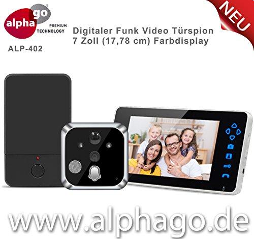 Digitaler Funk- Türspion ALP-402 - Kabelloser Türspion mit Kamera - Tragbare 7 Zoll Farbdisplay - erweiterbar bis zu 3 Monitore - Nachtsicht - 2 Wege Kommunikation - Tür Überwachung - geeignet nur für Wohnungen - Einfache Installation -