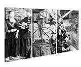 Leinwandbild 3 Tlg. Sport Samurai Schwert Kendo Mönch schwarz weiß Leinwand Bild Bilder Holz fertig gerahmt 9R842, 3 tlg BxH:90x60cm (3Stk 30x 60cm)