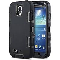 Carcasa ULAK híbrida resistente para Samsung Galaxy S4 i9505 i9500 con protector de pantalla (Negro + Negro)