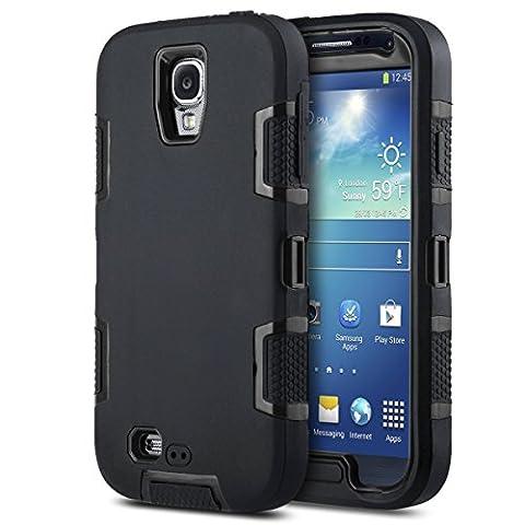 S4 Coque,Galaxy S4 Coque, ULAK Housse Étui Hybride Couche 3 en Silicone et PC Rigide Anti chocs & Absorption des Chocs dur Coque pour Samsung Galaxy S4(Noir)