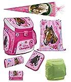 Familando Horse Champion Pferde Schulranzen-Set 7tlg. rosa Scooli Campus Up Schultüte 85cm, Federmappe gefüllt und Regenschutz