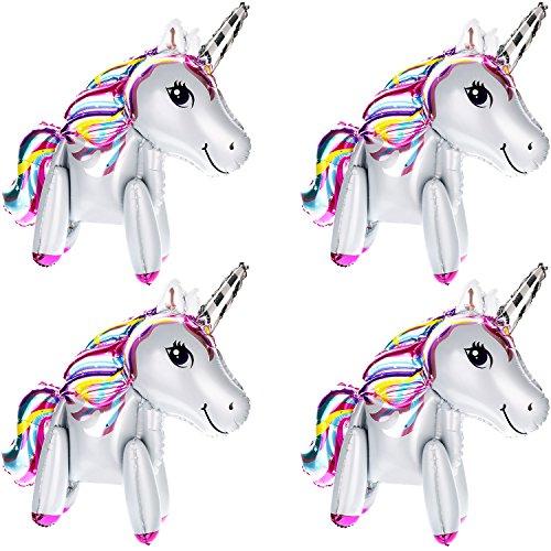 4 Piezas de Globos de Unicornio 3D Globos de Animal de Caminar Globos de Papel de Alumino para Decoración de Fiesta de Bienvenida a Bebé Fiesta de Cumpleaños