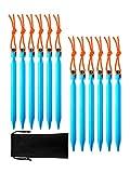 Pangda 12 Stück Aluminium Zeltstöpsel Heringe Zeltheringe mit Reflektierendem Seil und Aufbewahrungsbeutel zum Wandern Camping Beach Outdoor (Blau)