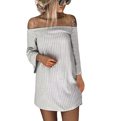 er Gestreiftes T-Shirt Kleid Slash Neck Mini Dress(Large,Grau) ()