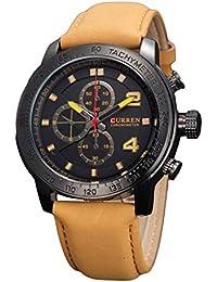 Correa de cuero para hombre reloj cronógrafo Curren marrón negro