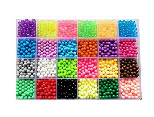 vytung Refill Pack 3600 bastelperlen glitzerperlen 24 Farben(6 Jewel) mit Stiftplatten Bastelset für Kinder mit Perlen und Zubehör (Beads Refill pack2)