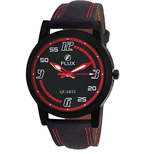Flux Fashion Analog Black Leather Strap Black Red Dial Men\'s Watch-WCH-FX276