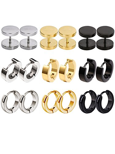 Mudder 9 Pairs Stainless Steel Men Women Stud Earring Hypoallergenic Hoop Earrings