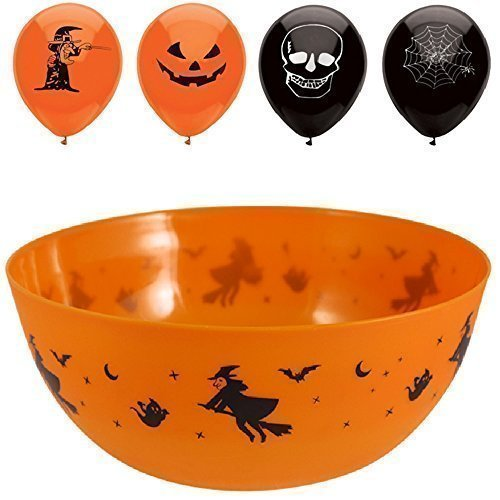 Bonbons Halloween (Trick or Treat Halloween Bonbon / Süßigkeiten Schale + 15 Skelett Kürbis Party)