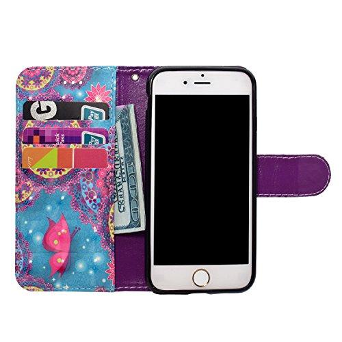iPhone 7 Custodia,iPhone 8 Custodia in Pelle,Slynmax 3D Modello Copertura Folio Flip Cover PU Wallet Case Per iPhone 7 / iPhone 8 Protezione Caso Ultra Sottile Colorato Protettivi Covers Chiusura Magn Modello #5