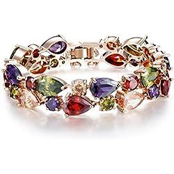 MONDAYNOON Pulsera Mujer Cristal Cubic Zircons Oro ♥ Regalo San Valentin ♥ para Amor y Mujer