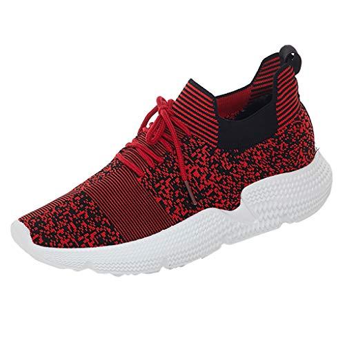 HDUFGJ Damen Sneaker Tuch Atmungsaktiv Laufschuhe Freizeitschuhe Outdoor-Schuhe Bequem Mode Leichtgewicht Faule Schuhe Turnschuhe Fitnessschuhe Flache Schuhe Clogs38 EU(rot)