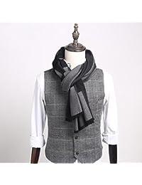 XIAOLIN-- Scarf Men Autumn and Winter Lattice Long Section burr Design 2 Colors --Outdoor warm scarf ( Color : B )