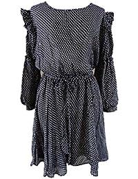 Unique boutique tupfenkleid-noir/blanc-taille 40 42 44–robe à manches longues noir à pois blancs