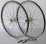 28 Zoll Fahrrad Laufradsatz REFLEX Hohlkammerfelge schwarz Shimano TX800 inkl. Schnellspanner silber Niro silber
