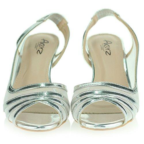Femmes Dames Voir À Travers Peep Toe Slingback Talon Bas Soir Fête Mariage Bal de Promo De Mariée Des Sandales Chaussure Taille Argent