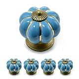 """Set Möbelknöpfe """"Krone"""" aus Porzellan mit antik Bronze Verzierung, (Set in vielen verschiedenen Farben erhältlich) Vintage Schrankknauf aus Keramik, Möbelgriff, Marke Ganzoo (4er SET, Blau)"""