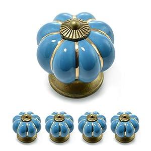 """Set Möbelknöpfe """"Krone"""" aus Porzellan mit antik Bronze Verzierung, (Set in vielen verschiedenen Farben erhältlich) Vintage Schrankknauf aus Keramik, Möbelgriff, Marke Ganzoo (4er SET, Orange)"""