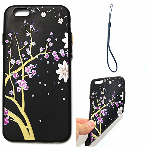 iphone 6S plus Silicone Cover, Custodia iphone 6 plus 5.5 Morbido, iphone 6S plus Nera Cover, Ekakashop Varnish Clear Coating Sollievo Painting Fiori Colorato Pattern 3d Gel Silicone Gomma Soft TPU Ra Fiore di prugne