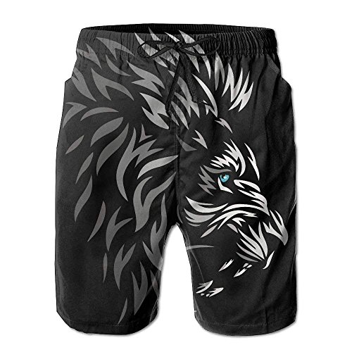 WTZYXS Cool Tribal Lion Men's/Boys Casual Quick-Drying Bath Suits Elastic Waist Beach Pants with Pockets M -