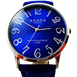 Branded Fashion Unique Mens Wrist Watch at Discounted Sale Price Blue Synthetic Leather Strap Silver Border Blue Analog Dial Quartz