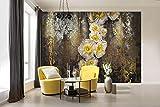 Komar - Fotoapete SERAFINA - 368 x 254 cm - Tapete, Wand, Dekoration, Wandbelag, Wandbild, Wanddeko, Mohnblumen, Gold, Goldrostoptik - 8-963