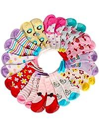 AMILE 12 Pairs Baby Girl Boy Socks Anti-slip Cotton Sock Set, Warm and Comfortable Baby Socks, 10-24 Months Light Colours Girl Socks