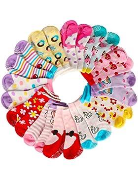 AMILE 12 Paar Baby Mädchen Socken Anti-Rutsch-Baumwolle Sock Set, warme und bequeme Baby Socken, 10-24 Monate...