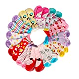 AMILE 12 Pairs Baby Girl Socks Anti-slip Cotton Sock Set, Warm and Comfortable