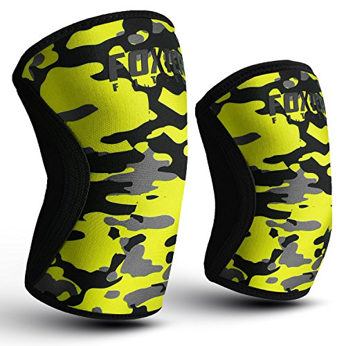 Foxter Fitness Kompressions-Kniebandage, Neopren, 5mm, mit Handgelenkbandage für Gewichtheben, Crossfit, Powerlifting, Kniebeugen, für Gelenkschmerzen und Arthritis-Erleichterung, Yello Camo, S