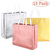 Whaline Set of 12 Glossy Reusable Grocery Bag, Tote Bag with Handle, Non-Woven Stylish Gift Bag, Goodies Bag, Shopping Bag, Promotional Bag, for Party,Birthday (Rose Gold, Gold, Silver)