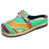 Bestickte Espadrilles, Tezoo Traditioneller Peking-Stil Schuhe, Sonne-Blume Sommer Pantoletten, aus Leinen, Damen Bequeme Flache Schuhe, Niedrige Pantoffel, Garten Bunte Schuhe Grün 38