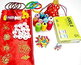 Goelx All-in-1 Silk Thread Jewellery Making Kit choose bangle size With Beautiful Jewellery Pouch!