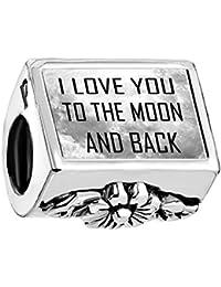 """Uniqueen Joyero """"I Love You a la luna y parte trasera"""" foto cuentas Pandora pulsera"""
