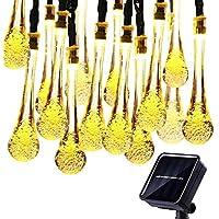 KEEDA Gotas de Agua Solares Luces de Cuerda, 4.8M Impermeable Solar Powered String Lights luces de Jardín al Aire Libre Para al Aire Libre, Jardín, Patio, Navidad (Blanco Cálido)