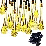 KEEDA Wassertropfen Solarbeleuchtung, 4,8 Meter 20er LED Solar Garten Lichterkette, Solar Außenbeleuchtung, Solarbetrieben Lichterkette für Außen Garten Party Weihnachtsdekoration (Warmweiß)