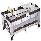 Reisebett Babybett Klappbett Babyreisebett Kinderbett Multi-Funktion Kinderreisebett Baby Laufstall Inkl. Matratze+Zubehör (Braun) - 2