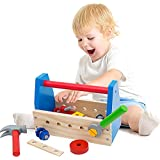 NEOWOWS Take-along Tool Kit Pretend Play Wooden Building Construction Toys Educational Toy For Kids - 17 Pieces