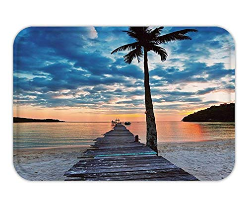 Doormat Palm Tree Tropical Decor Nautical Ocean Artwork Wooden Dock Bridge to Water Wavein Sunset Theme Polyester Fabric Bathroom Set with Hooks.jpg -