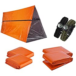 Kit de supervivencia de emergencia 7 en 1 para 2 personas- Preparación para emergencias al aire libre con refugio de emergencia, mantas de emergencia, saco de dormir y pulsera de supervivencia cobra