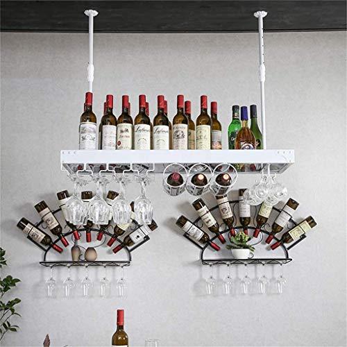 gal - Wandbehang aus Eisen Aufbewahrungshalter für Weingläser und Flaschen [Höhe 30-60 cm einstellbar] - Weiße Rahmen-Deckenständer ()