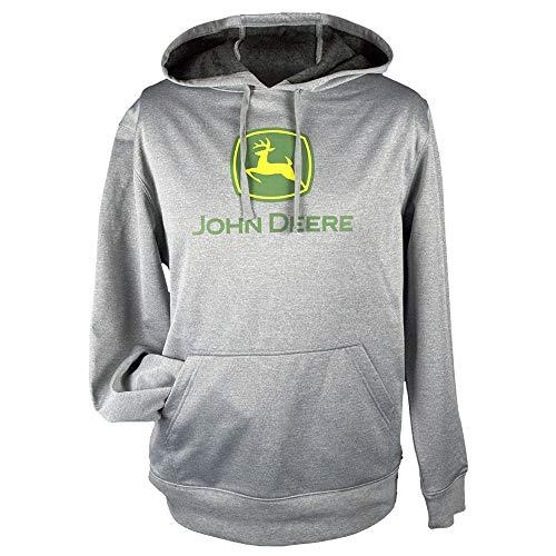 John Deere Herren Kapuzenpullover Classic Logo Poly Fleece Hoodie - Schwarz - X-Groß John Deere Poly Fleece