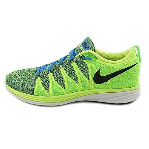 Nike Flyknit Lunar2, Scarpe sportive, Uomo Volt / Black / Photo Blue / Electric Green / White