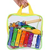 Musical Toys, 17 Pcs Wood Metal Percussion Instruments Toy With Hand Bag For Kids Preschool Educational Christmas Gift