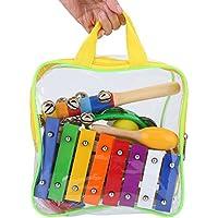 Juguetes Musicales 17 piezas instrumentos de percusión de metal de madera juguete con bolsa de mano para niños de preescolar regalo educativo de navidad