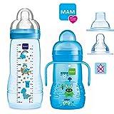 MAM Baby Bottle Smart-Set ab 4 Monate Easy Active Babyflasche 330 ml mit Sauger Gr.2 & MAM Trainer mit Sauger Gr.4 Tropffrei & Soft-Trinkschnabel