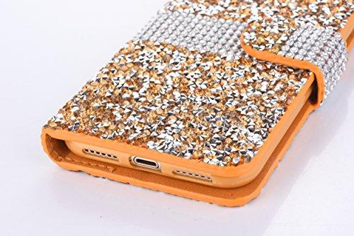 Magnetico Cover per iPhone X/iPhone 10, Pelle Wallet Perla Wallet Premium PU e Glitter Brillanti 3D Strass Cover - Bonice Custodia Morbido Case Libro Leather, Magnetico Flip Protettiva Portafoglio, ID Oro